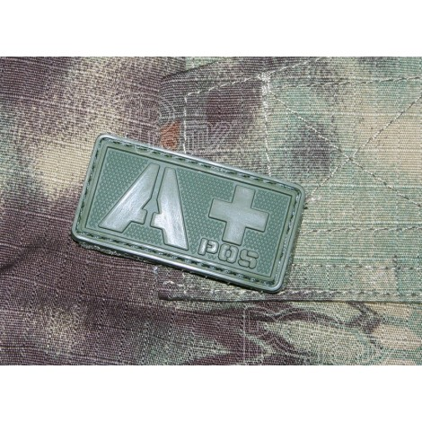 Patch Groupe Sanguin A+  PVC Velcro -Olive - Emerson