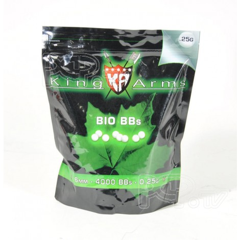 Billes BIO 0.25gr blanche - King Arms - Sac 1Kg