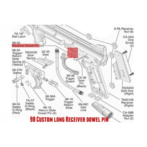 98 Custom long Receiver dowel pin