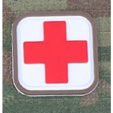 Patch Medic Square PVC Velcro -Blanc Rouge - Emerson