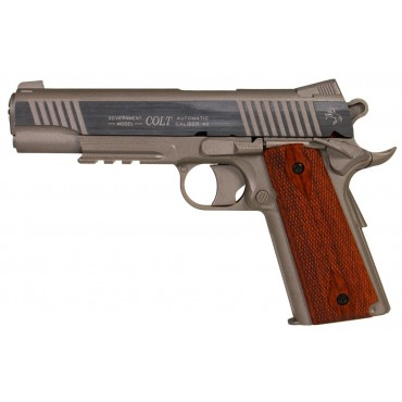 Colt 1911 rail gun full metal - Stainless- Culasse fixe CO2 - KWC