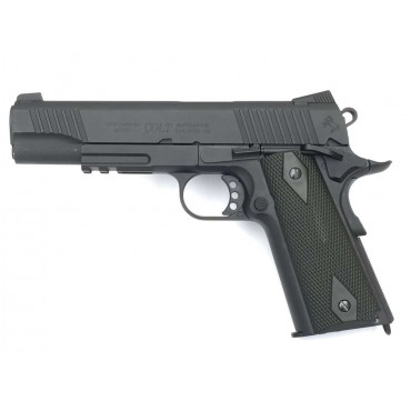 Colt 1911 Rail gun Noir Mat culasse metal Blowback - CO2- KWC  airsoft