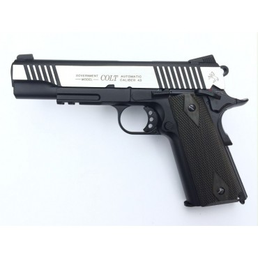 Colt 1911 Rail gun Bicolore culasse metal Blowback - CO2- KWC