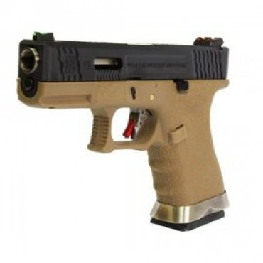 Pistolet WE G19 Gforce T2 Noir Silver Tan GBB Gaz