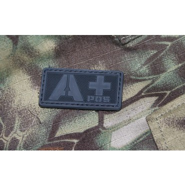 Patch Groupe Sanguin A+  PVC Velcro -Noir - Emerson