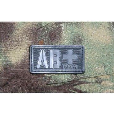 Patch Groupe Sanguin AB+  PVC Velcro -Noir - Emerson