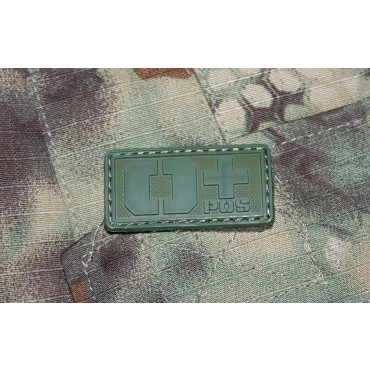 Patch Groupe Sanguin O+  PVC Velcro -Olive - Emerson